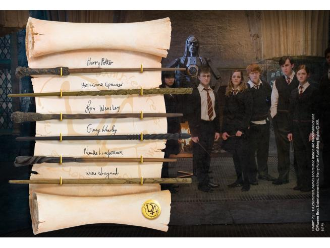 Harry Potter Display 6 Bacchette Character Esercito Di Silente Noble Collection