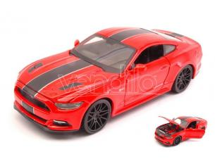 Maisto MI31369R FORD MUSTANG GT 2015 RED W/BLACK STRIPES 1:24 Modellino