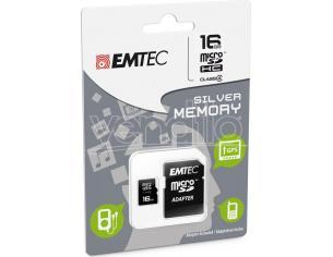 MICROSD + ADAPTER 16GB SILVER (MP3-MP4) MEMORY CARD/HARD DISK CONSOLE - MEMORIE
