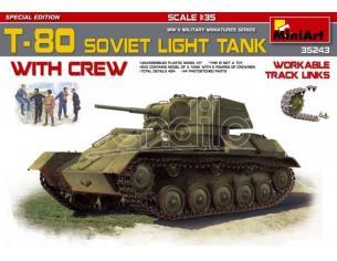 Miniart MIN35243 T-80 SOVIET LIGHT TANK W/CREW KIT 1:35 Modellino