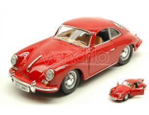 BBURAGO BU22079R PORSCHE 356 B COUPE 1961 RED 1:24 Modellino