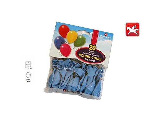 Confezione Palloncini Medium Azzurro 20 Pezzi Tondi Pegaso
