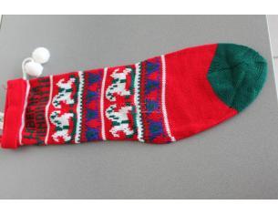 Calza della Befana vuota in Lana 50cm rossa e verde con ricami Natale