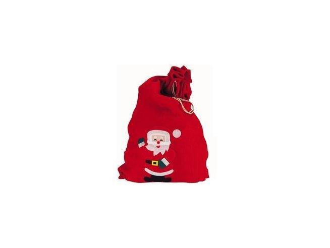 COMO GIOCHI - Sacco di Babbo Natale Vuoto in Panno Rosso con disegno cm 60x90