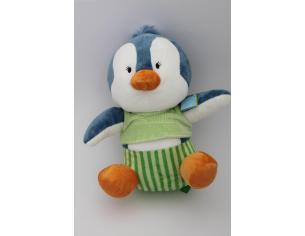 Playtime 49355 - Peluche Pinguino Azzurro seduto con Vestito Verde 33 cm circa