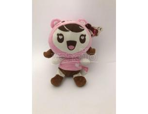 FAMOSA - Peluche Bambina Charuca Kawaii con travestimento da orsetto rosa 25cm