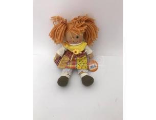 Bambola di pezza con vestitino giallo 25 cm circa