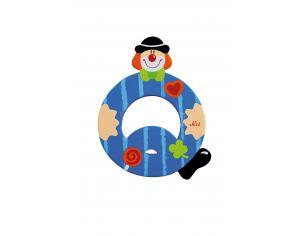 Trudi Sevi 81753 - Letteraa Q In Legno A Forma Di Clown Blu 9,5 Cm Decorazione