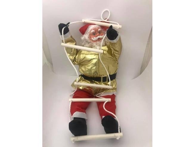 Babbo Natale morbido vestito oro e rosso con scaletta 90cm Decorazione Natale