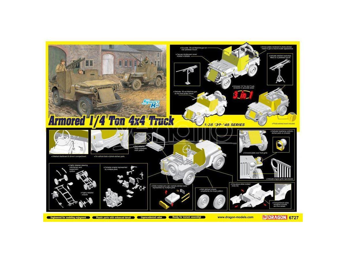 Dragon D6727 ARMORED 1/4-Ton 4x4 TRUCK W/50-cal MACHINE GUN KIT 1:35 Modellino