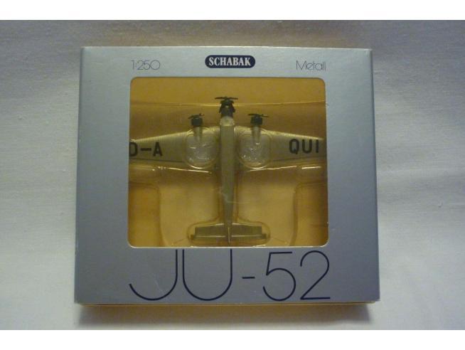 Schabak Aeroplano In Metallolo Junkers Ju-52 Da-qui 1/250 Modellino Scatola Rovinata