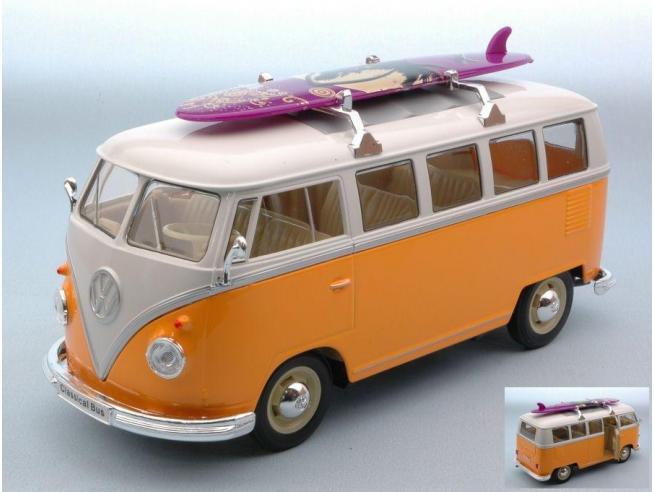 Welly WE0952Y VW T1 BUS 1963 W/WINDSURF YELLOW/CREAM 1:24 Modellino