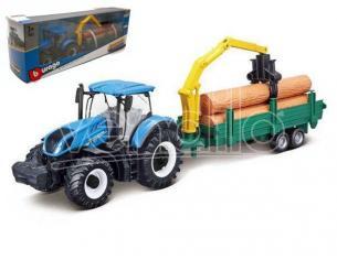 Bburago Bu31655 New Holland T7.315 Tractor + Trailer In Legno Logs Cm 26 Modellino