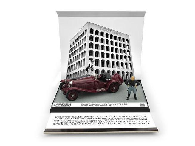 BRUMM BMAS37C ALFA ROMEO 1750 GS BENITO MUSSOLINI EUR PALAZZO DELLA CIVILTA  1940 1:43 Modellino