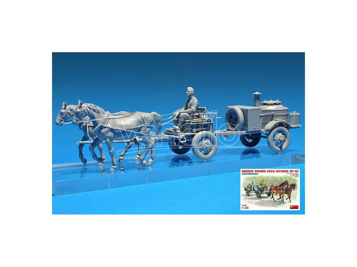 MINIART MIN35057 HORSES DRAW FIELD KITCHEN KP-42 KIT 1:35 Modellino
