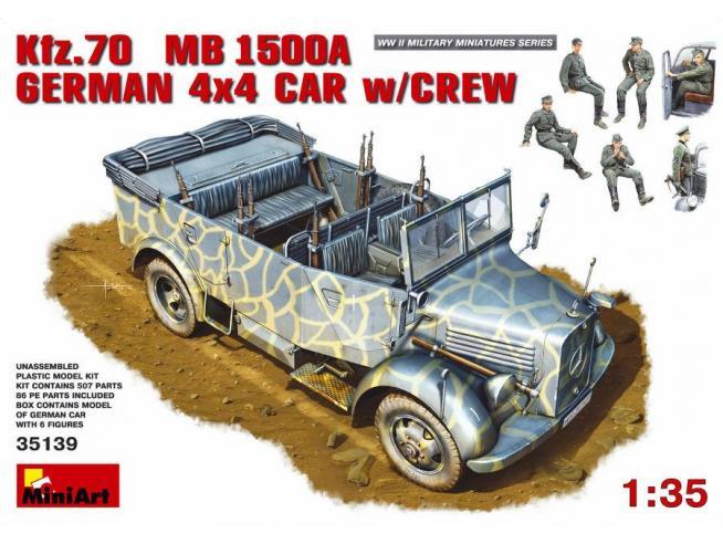 MINIART MIN35139 KFZ.70 GERMAN 4x4 CAR W/CREW KIT 1:35 Modellino