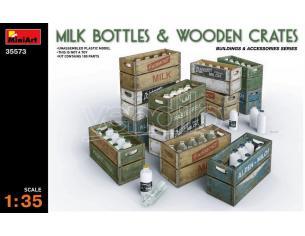 Miniart Min35573 Milk Bottiglia & In Legno Crates Kit 1:35 Modellino