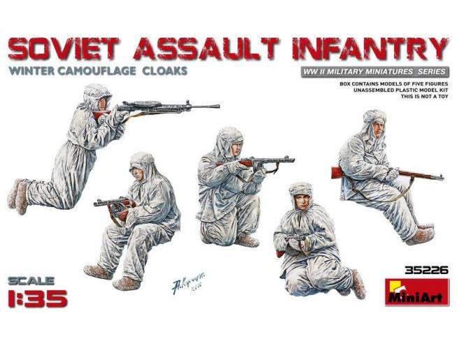 MINIART MIN35226 SOVIET ASSAULT INFANTRY WINTER CAMOUFLAGE CLOAKS KIT 1:35 Modellino