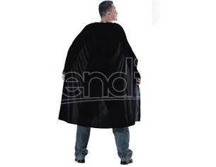 Mantello Nero in Taffetas Vampiro Adulto 130 cm Halloween
