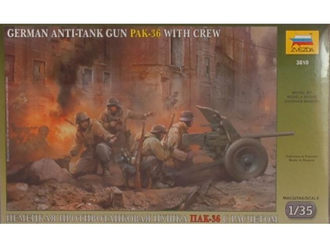 ZVEZDA Z3610 GERMAN ANTI TANK GUN PAK KIT 1:72 Modellino