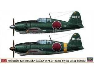 HASEGAWA 01931 MITSUBISHI J2M3 RAIDEN JACK TYPE 21 302nd FLYING GROUP COMBO 1:72 KIT Modellino