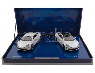 Norev Nv517867 Coffret Alpine A110 Pure & A110 S White Limited Ed.500  Pezzi 1:43 Modellino