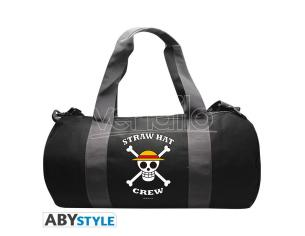 "One Piece - Borsa Sportiva ""Skull"" - Grigio/Nero 50 x 25 x 25cm"