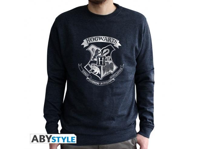 "Harry Potter - Felpa Vintage - ""Hogwarts"" Uomo Nera Sbiadita Taglia XXL"