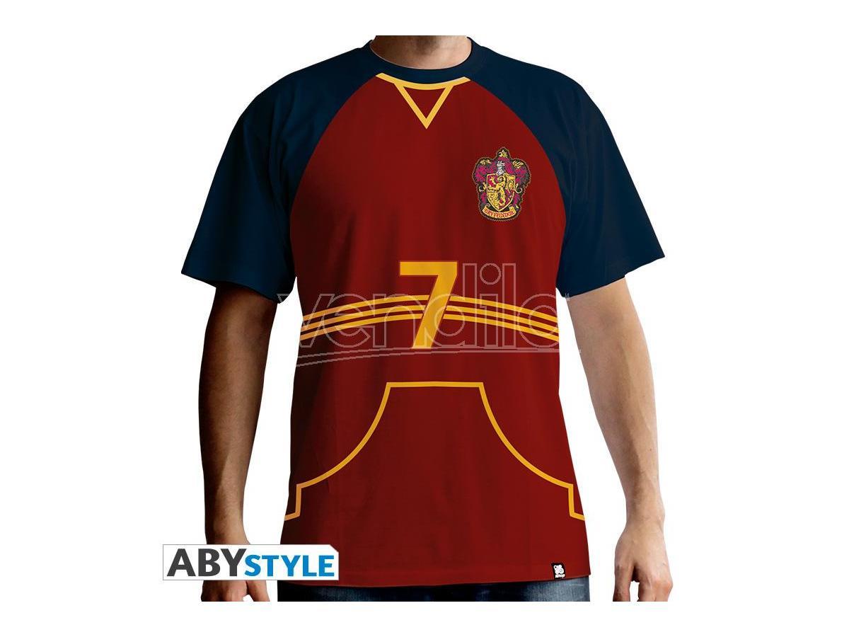 """Harry Potter T-shirt """"Maglietta Quidditch"""" Uomo Ss Rossa Premium Taglia S"""