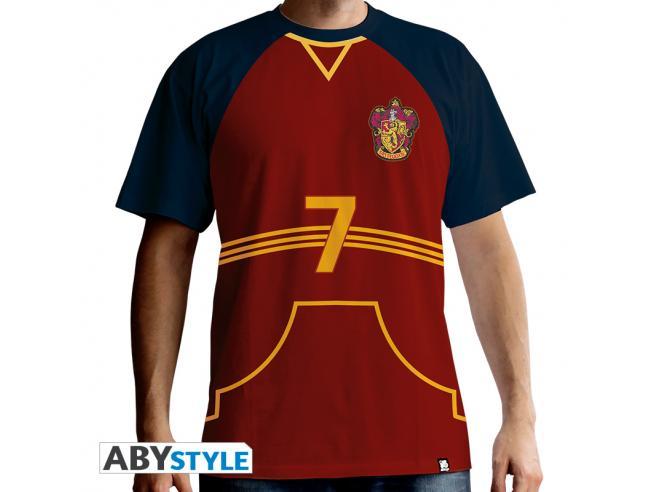 """Harry Potter T-shirt """"Maglietta Quidditch"""" Uomo Ss Rossa Premium Taglia L"""