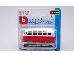 BBURAGO BU59036R VW T1 SAMBA VAN RED/WHITE 1:64 Modellino
