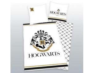 Harry Potter Copripiumino Letto Bianco e Oro Stemma Hogwarts 135 x 200 cm, 80 x 80 cm