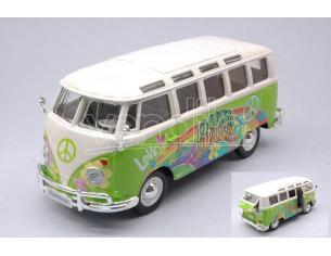 MAISTO MI32301P VW VAN SAMBA FLOWER POWER HIPPIE LINE GREEN/WHITE 1:25 Modellino