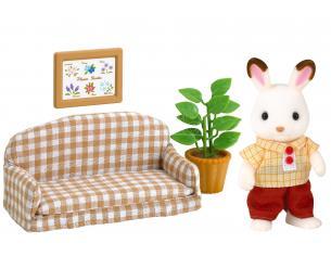 Sylvanian Family 5013 - Papà Coniglio Cioccolato e divano