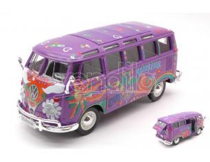 MAISTO MI32301G VW VAN SAMBA FLOWER POWER HIPPIE LINE VIOLET 1:25 Modellino