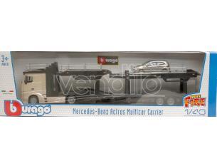 Bburago BU31456S MERCEDES ACTROS 2545 BISARCA SILVERGOLD W/VW POLO 1:43 Modellino