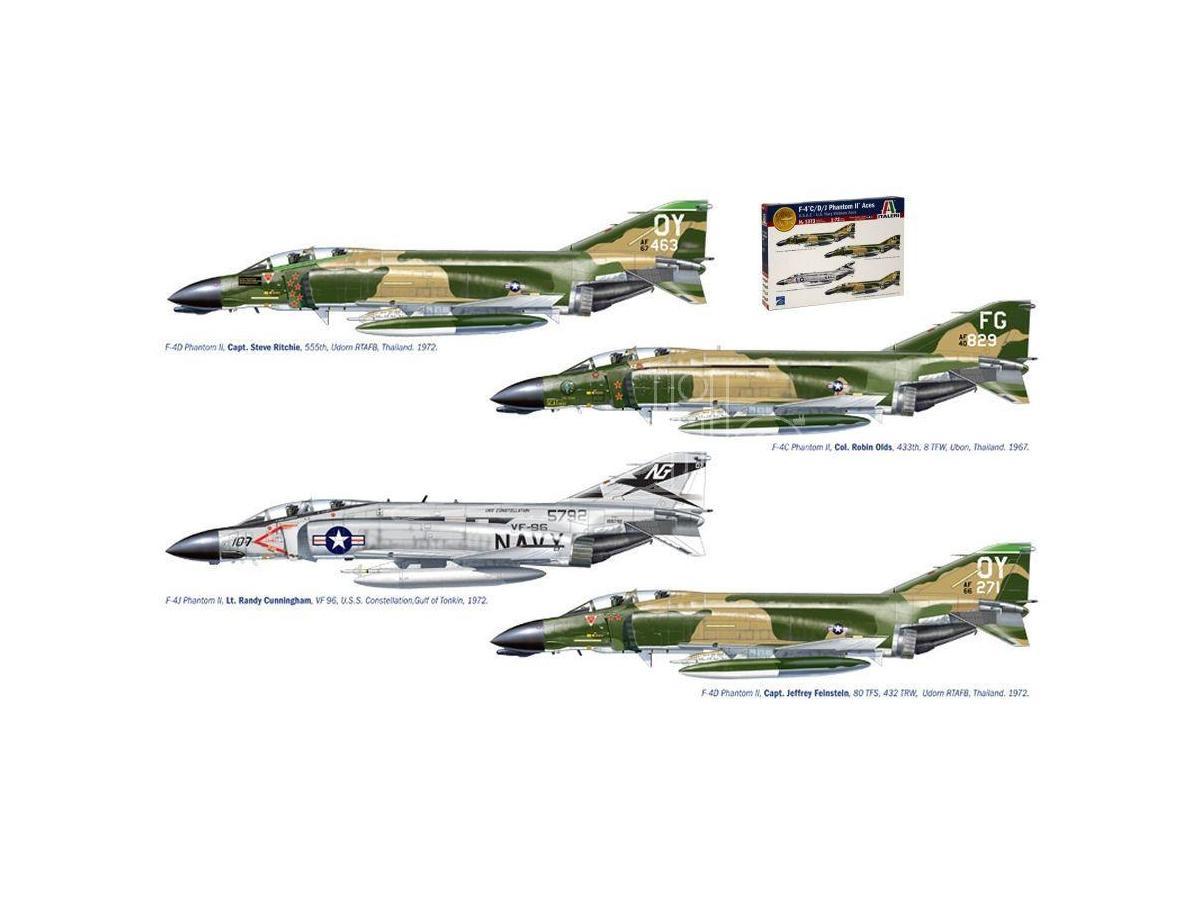 Italeri IT1373 F-4 C/D/J PHANTOM USA-US NAVY VIETNAM ACES DECALS x 4 VERSIONI KIT 1:72 Modellino