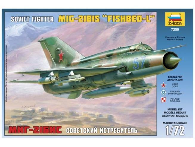 Zvezda Z7259 MIG-21 BIS FISHBED-L KIT 1:72 Modellino