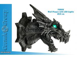 FEROX DRAGON HEAD WALL PLAQUE w LED PLACCA DA MURO NEMESIS NOW