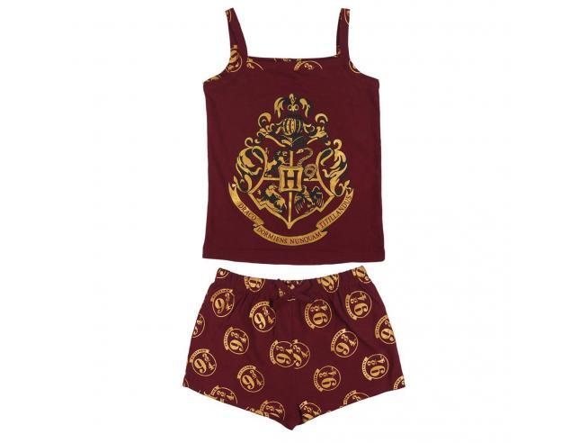 Harry Potter Pigiama Corto Jersey Bordeau con Stemma per Bambini Hogwarts Cerdà