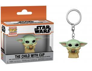Star Wars The Mandalorian Portachiavi Funko POP Vinile Figura Yoda Il Bambino Con Tazza 4 cm