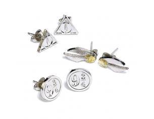 Harry Potter Orecchini 3-pack Snitch/doni Della Morte/binario 9 3/4 (silver Plated) Carat Shop, The