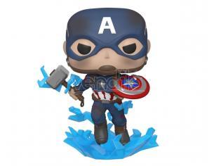 Marvel Avengers Endgame Funko Pop Film Vinile Figura Captain America Con Scudo Rotto & Mjolnir 9 cm