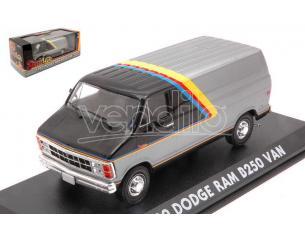 Greenlight Green86600 Dodge Ram B250 Van Silver/black W/yellow, Red E Blue Stripes 1:43 Modellino
