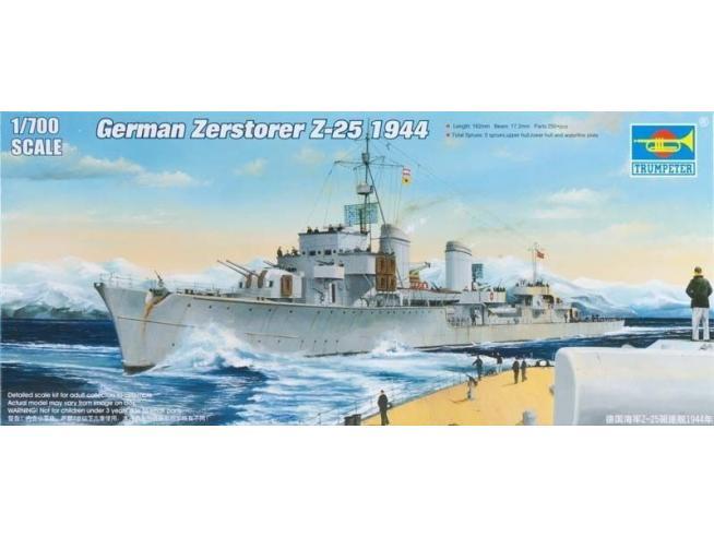 TRUMPETER 05787 GERMAN ZERSTORSER Z-25 1944 Modellino