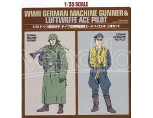 Tamiya TA89641 WWII German Machine Gunner & Luftwaffe Ace Pilot kit Modellino SCATOLA ROVINATA