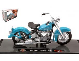MAISTO MI20115 HARLEY DAVIDSON 74FL HYDRA GLIDE 1953 LIGHT BLUE 1:18 Modellino