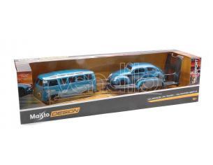 MAISTO MI32752 VW T1 VAN SAMBA + VW KEVER BLUE 2 CAR SET 1:24 Modellino