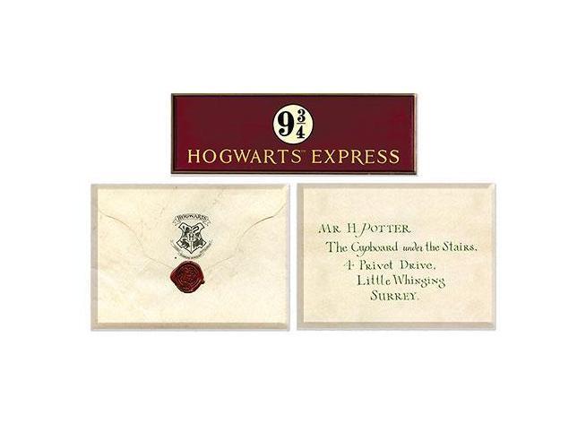 Harry Potter Set di 3 Magneti della Lettera di Accettazione + Binario 9 3/4 Distrineo