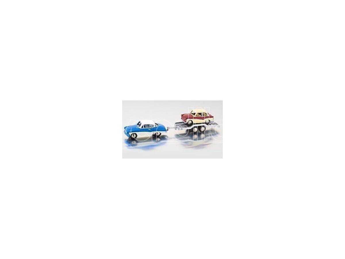 Bub 06253 WARTBURG 311 COUPE TRAILER TRABANT RIMORCHIO 1:87 Modellino